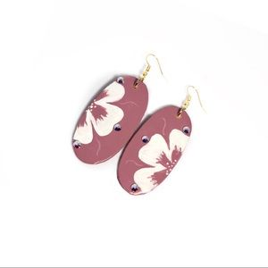 Floral Oval Rouge Drop Earrings